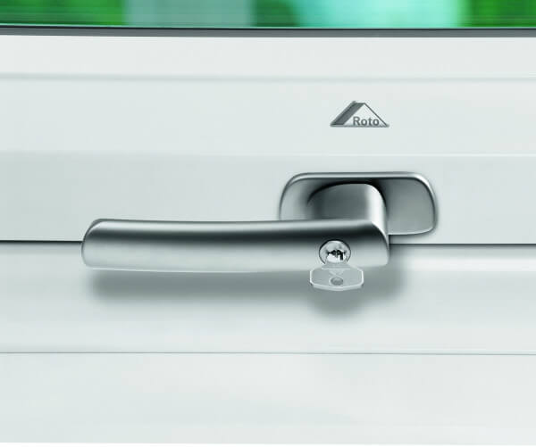 Roto Designo Abschliessbarer Griff silber für R6/R8 in Kunststoff